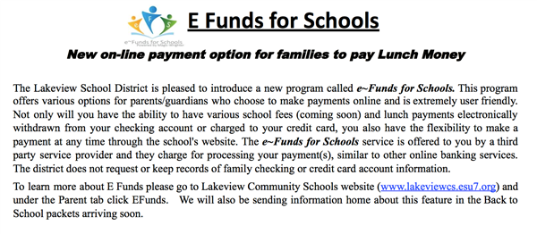 E-funds for schools.  New online payment option for families to pay lunch money.