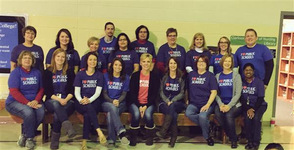 Platte Center staff in I Love Public Schools tshirts