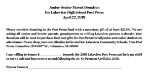 Lakeview Jr-Sr Parent Donation for Post Prom